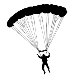 The Skydiver silhouettes parachuting a vector