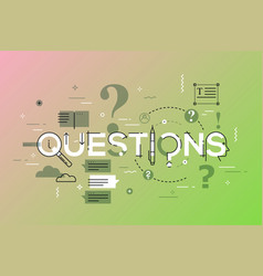 thin line design concept for questions website vector image