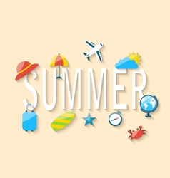 Travel summer background with tourism objects and vector