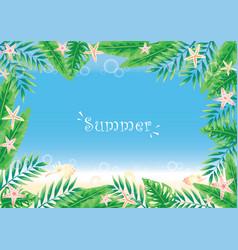 Tropical garden with sea life border on beach vector