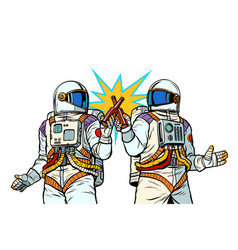 two astronauts drink beer male friendship vector image
