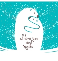 Two polar bears hugging each other Greeting card vector image