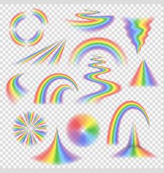 various rainbow bands curves turns circles vector image