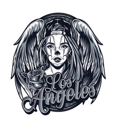 vintage monochrome chicano tattoo template vector image