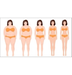 Woman diet concept woman slimming stage progress vector