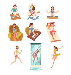 Women daily activities set girl cooking painting vector