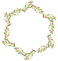 wreath of green leaves with red berries vector image