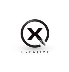 X brush letter logo design creative brushed vector