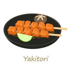 Yakitori icon cartoon style vector