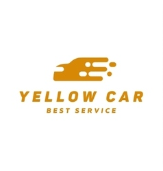 Yellow abstraction car icon logo flat style vector