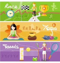 Race yoga and tennis concept vector image vector image