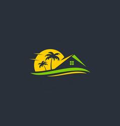 resort beach house travel logo vector image vector image