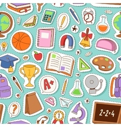School icons seamless pattern background vector image