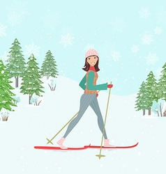 happy young woman cross country skiing in winter vector image