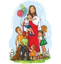 jesus with children vector image vector image