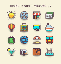 pixel icons-travel 4 vector image