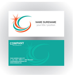 swirl star company logobusiness card vector image