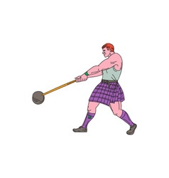 Weight Throw Highland Games Athlete Drawing vector image