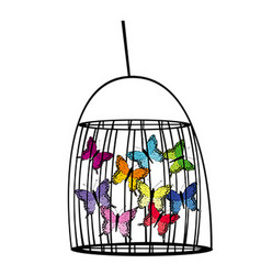 Captive butterflies in a cage vector image vector image