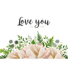 floral card with peach peony flowers and leaves vector image