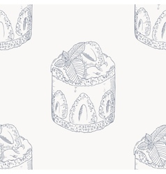 Strawberry cream cake outline seamless pattern vector image vector image
