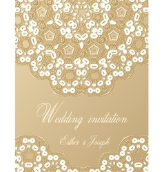 Wedding invitation decorated with white lace vector image vector image