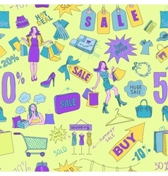 Colored Sale seamless pattern background vector image vector image