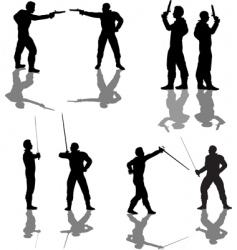 Duelist silhouettes vector