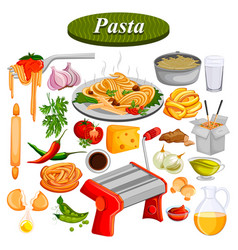 food and spice ingredient for pasta vector image vector image