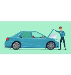 Man having Car Trouble Car breaks down vehicle vector image