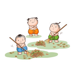 three thai kids sweep the leaves on the ground vector image