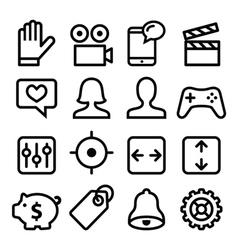 Website menu navigation line icons set vector image