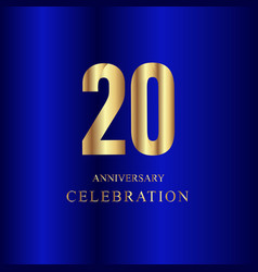 20 year anniversary celebration gold blue vector