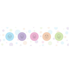 5 facial icons vector
