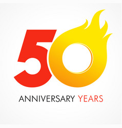 50 anniversary flame logo vector