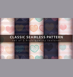 Abstract heart - set seamless pattern vector