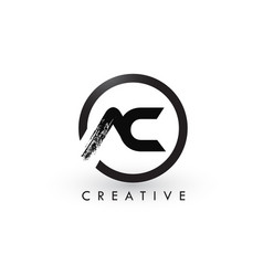 Ac brush letter logo design creative brushed vector