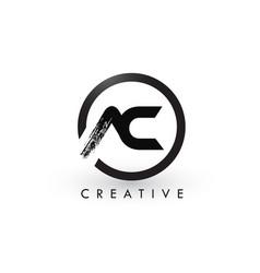 Ac brush letter logo design creative brushed vector