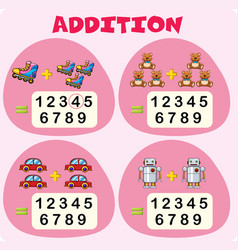 Addition worksheet template with toys vector