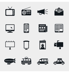 advertising media silhouette icons vector image