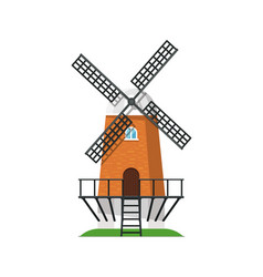 ancient wooden windmill building isolated icon vector image