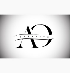 Ao letter logo with serif letter and creative cut vector