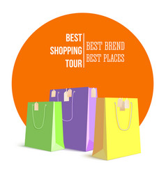 best shopping tour advertising banner with paper vector image