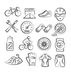 Biking doodle icons vector