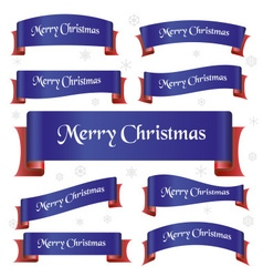 blue and red merry christmas curved ribbon banners vector image