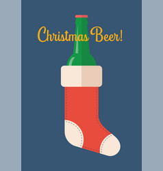 bottle beer in christmas stocking vector image