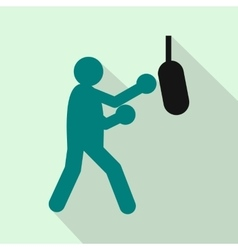 Boxer hitting the punching bag icon flat style vector image