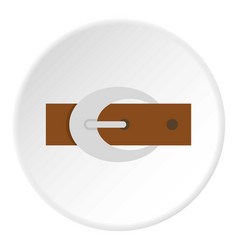 Brown elegant leather belt with buckle icon circle vector
