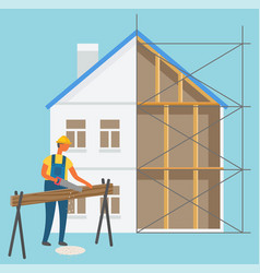 build construction zone man cutting log vector image