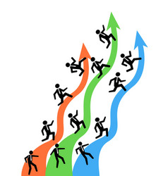 businessman running on up arrows vector image